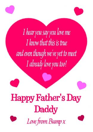 Pink To Daddy from Bump/Baby Father's Day Card